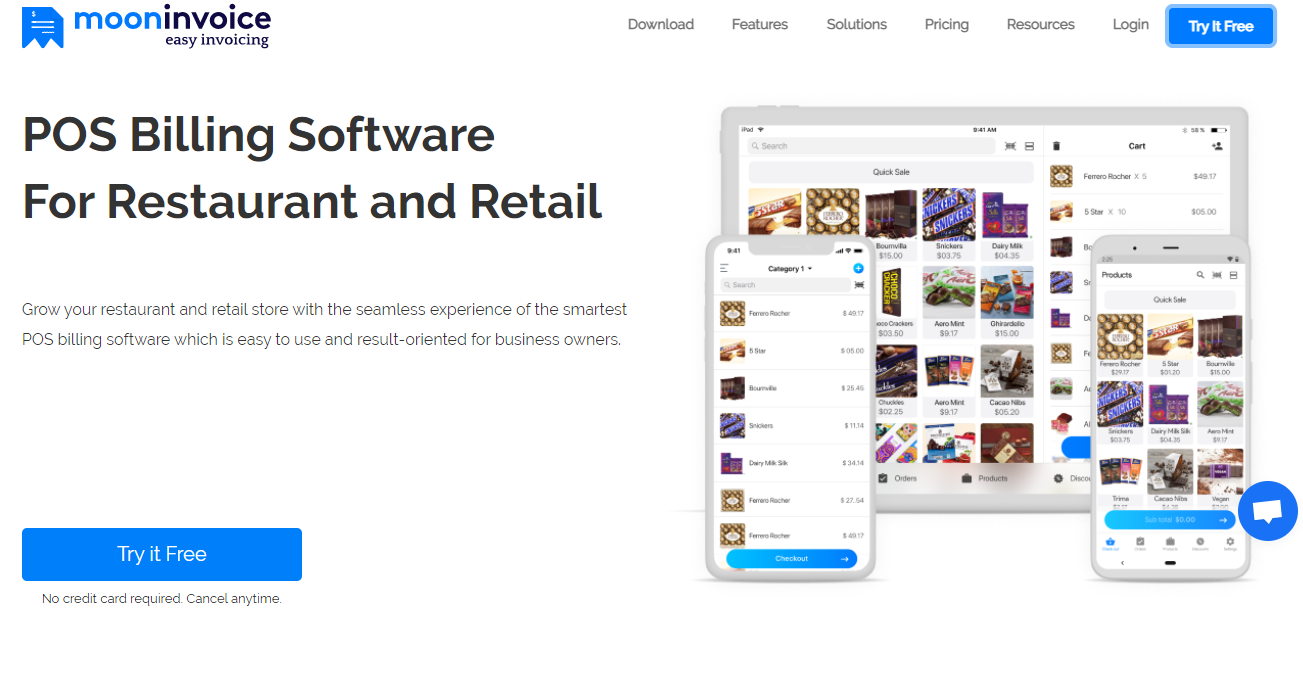 Best POS Billing Software For Restaurant and Retail billings - Moon Invoice