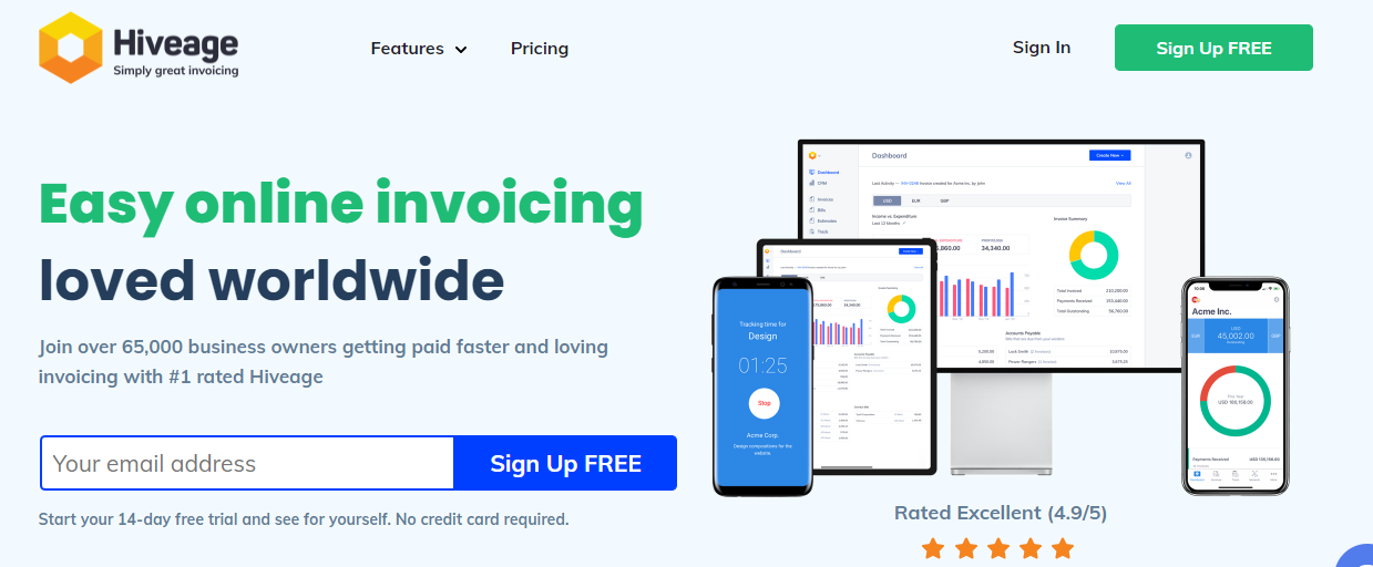 Hiveage Biling & Invoicing Software - Moon Invoice