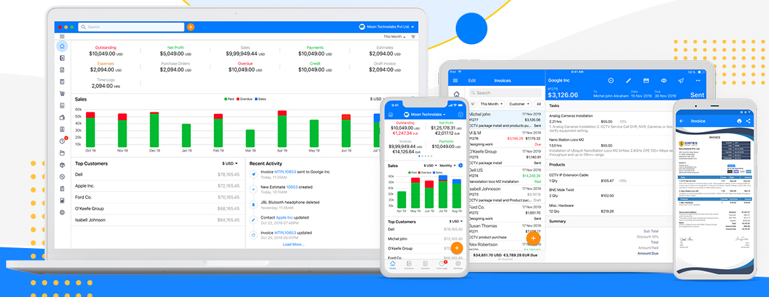 Use Free Invoice & Billing app Ease of Use - Moon Invoice