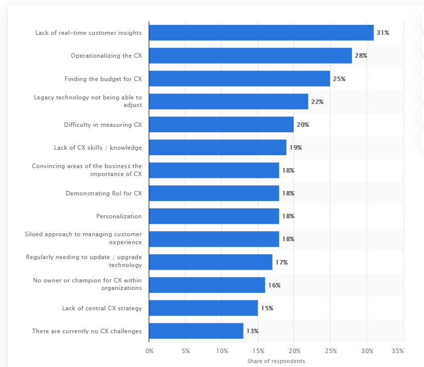 biggest challenges currently being faced by your organization in terms of customer experience?