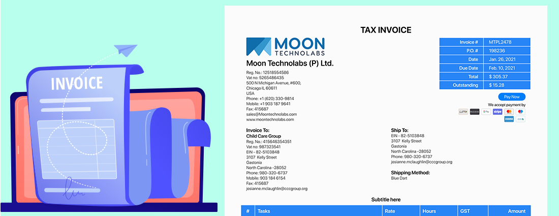 Ready-to-go-Invoice in Few Seconds with Online Project Estimation Software - Moon Invoice