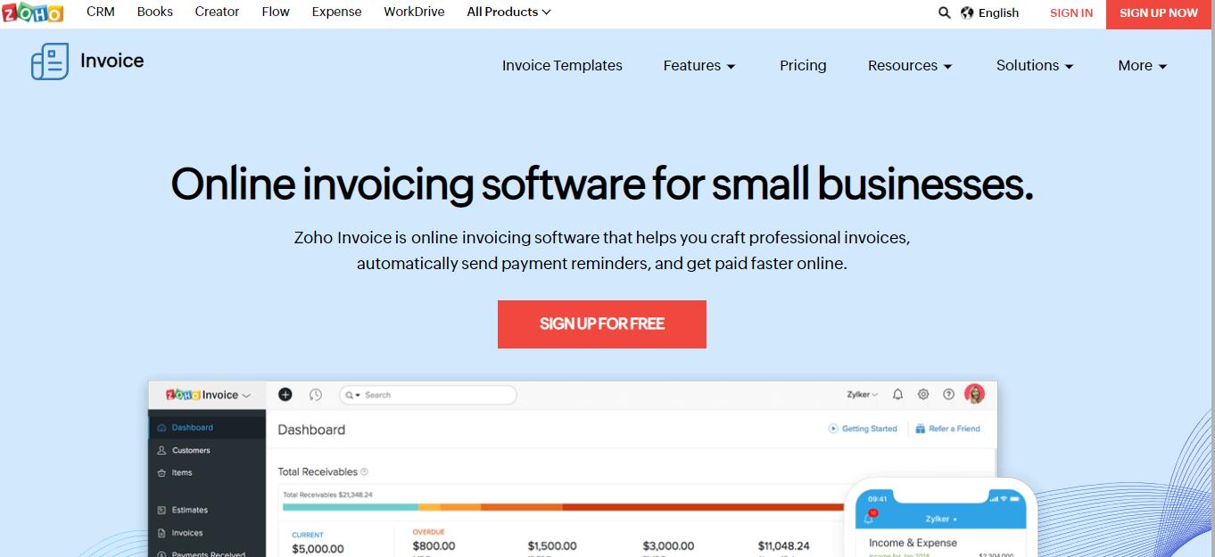 zoho Invoice Software - Moon Invoice