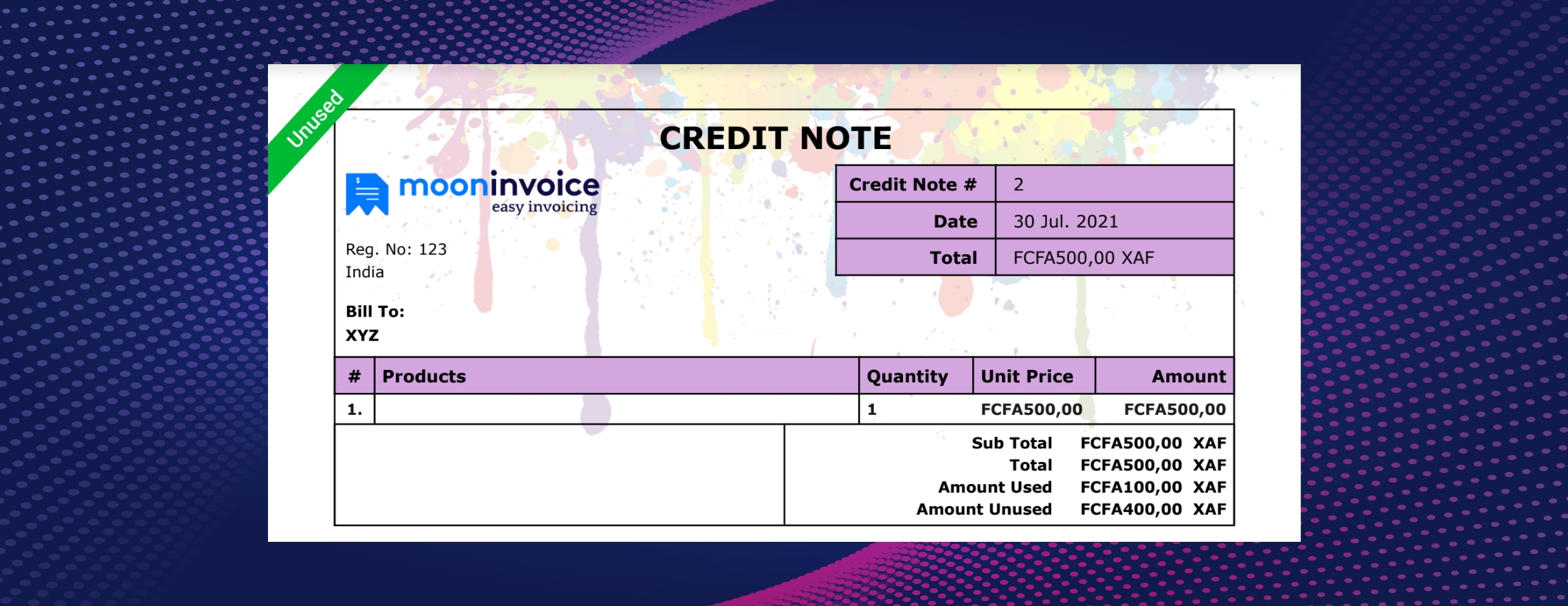 Credit Note Example
